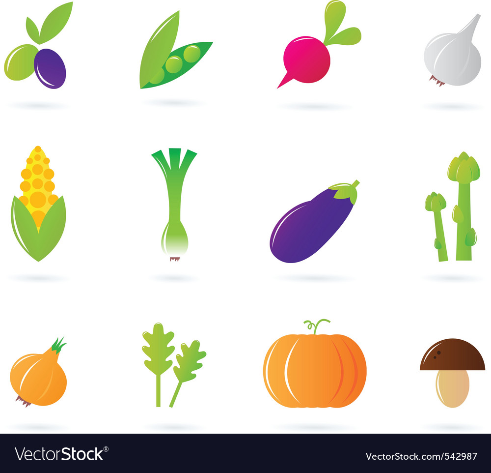 Fresh vegetable isolate icons vector | Price: 1 Credit (USD $1)
