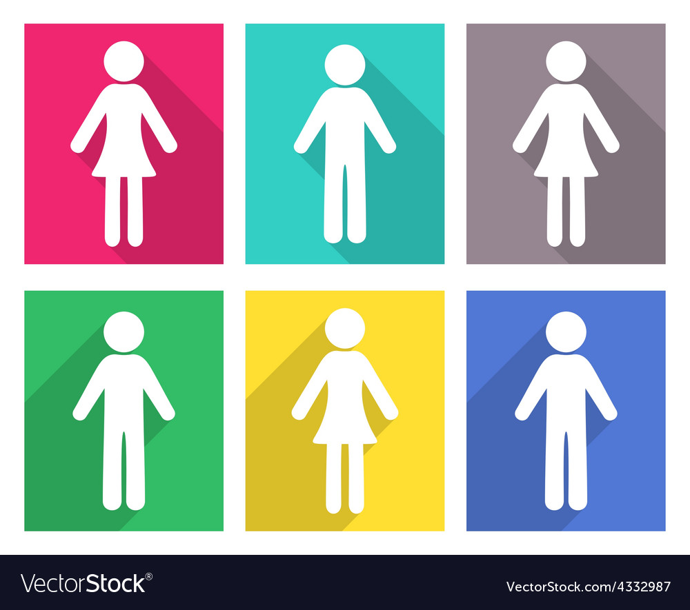 Man and woman flat icons vector | Price: 1 Credit (USD $1)