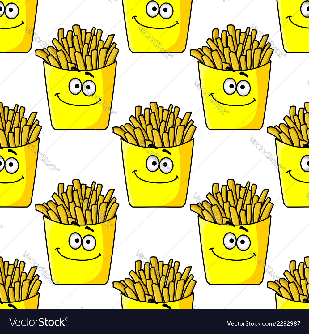 Smiling takeaway french fries seamless vector | Price: 1 Credit (USD $1)