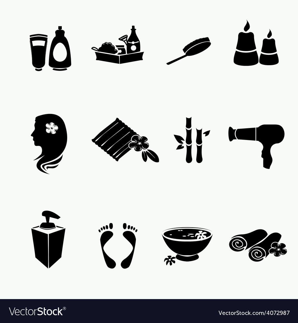 Spa doodle hand drawn sketch black icons set with vector | Price: 1 Credit (USD $1)