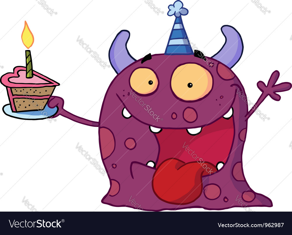 Spotted purple birthday monster vector | Price: 1 Credit (USD $1)