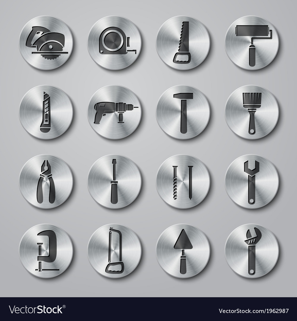 Toolbox icons set on metal buttons vector | Price: 1 Credit (USD $1)