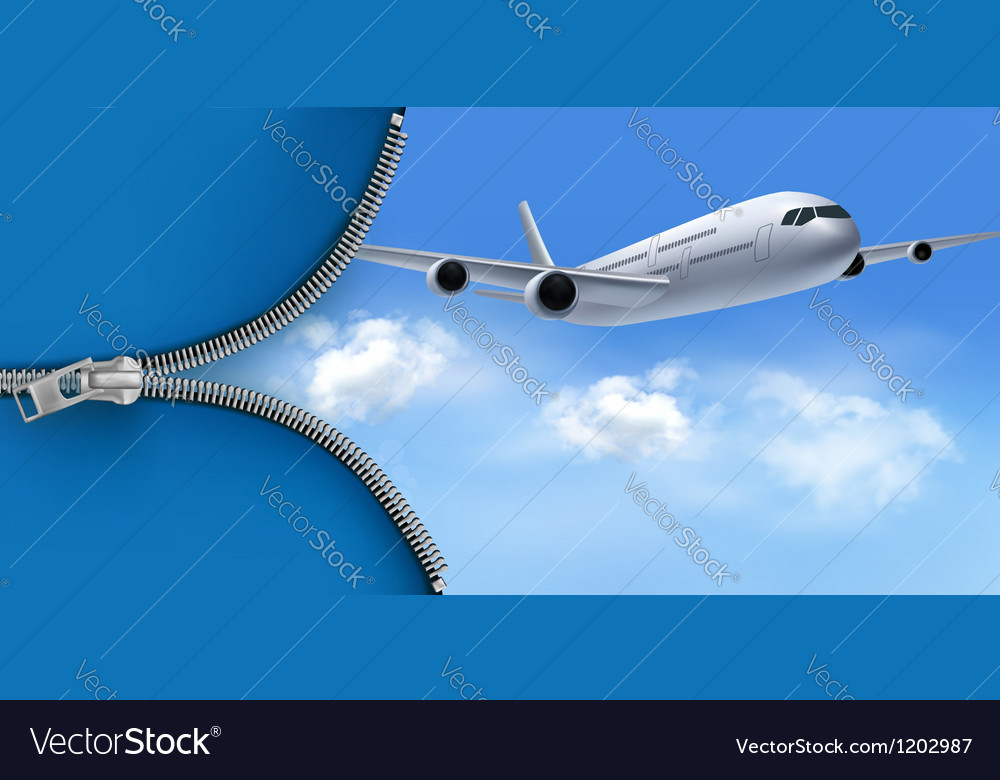 Travel background with airplane on blue sky vector | Price: 3 Credit (USD $3)
