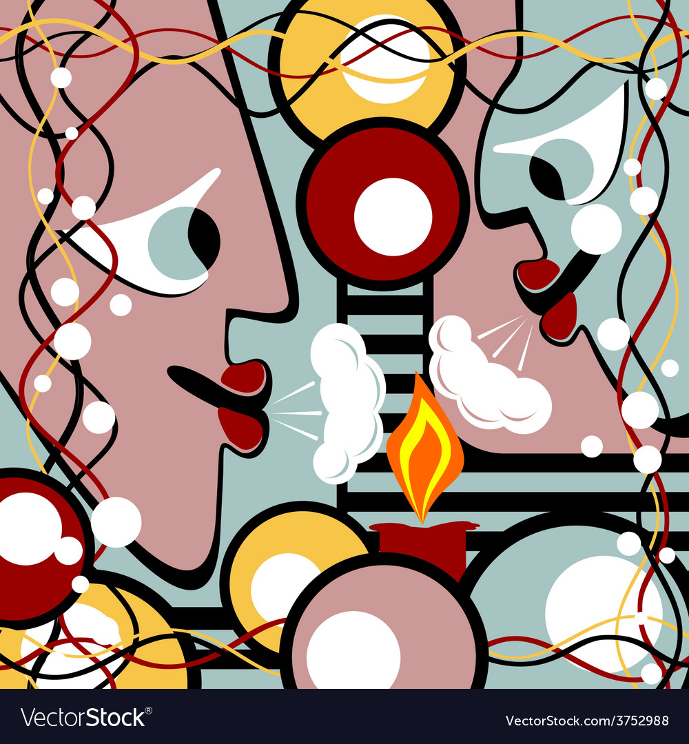 Abstract heads and candle vector | Price: 1 Credit (USD $1)