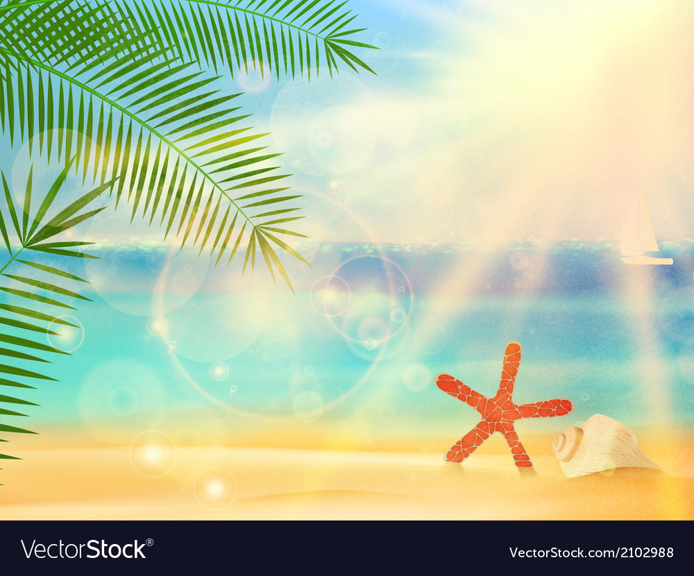 Beautiful seaside view poster vector | Price: 1 Credit (USD $1)