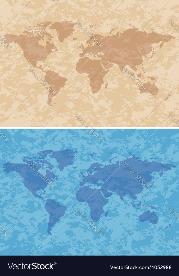 Beige and blue grungy background with map vector | Price: 1 Credit (USD $1)