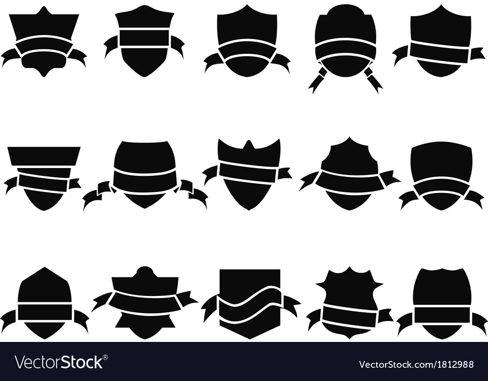 Black shield and ribbon icons set vector | Price: 1 Credit (USD $1)