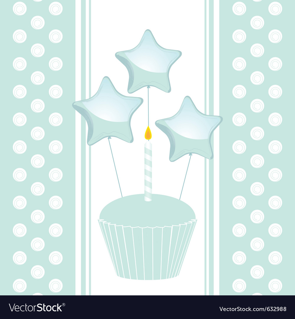 Blue birthday cupcake with candle and balloons on vector | Price: 1 Credit (USD $1)