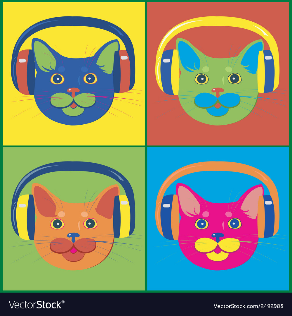Brightly colored cats in the music headphones vector | Price: 1 Credit (USD $1)