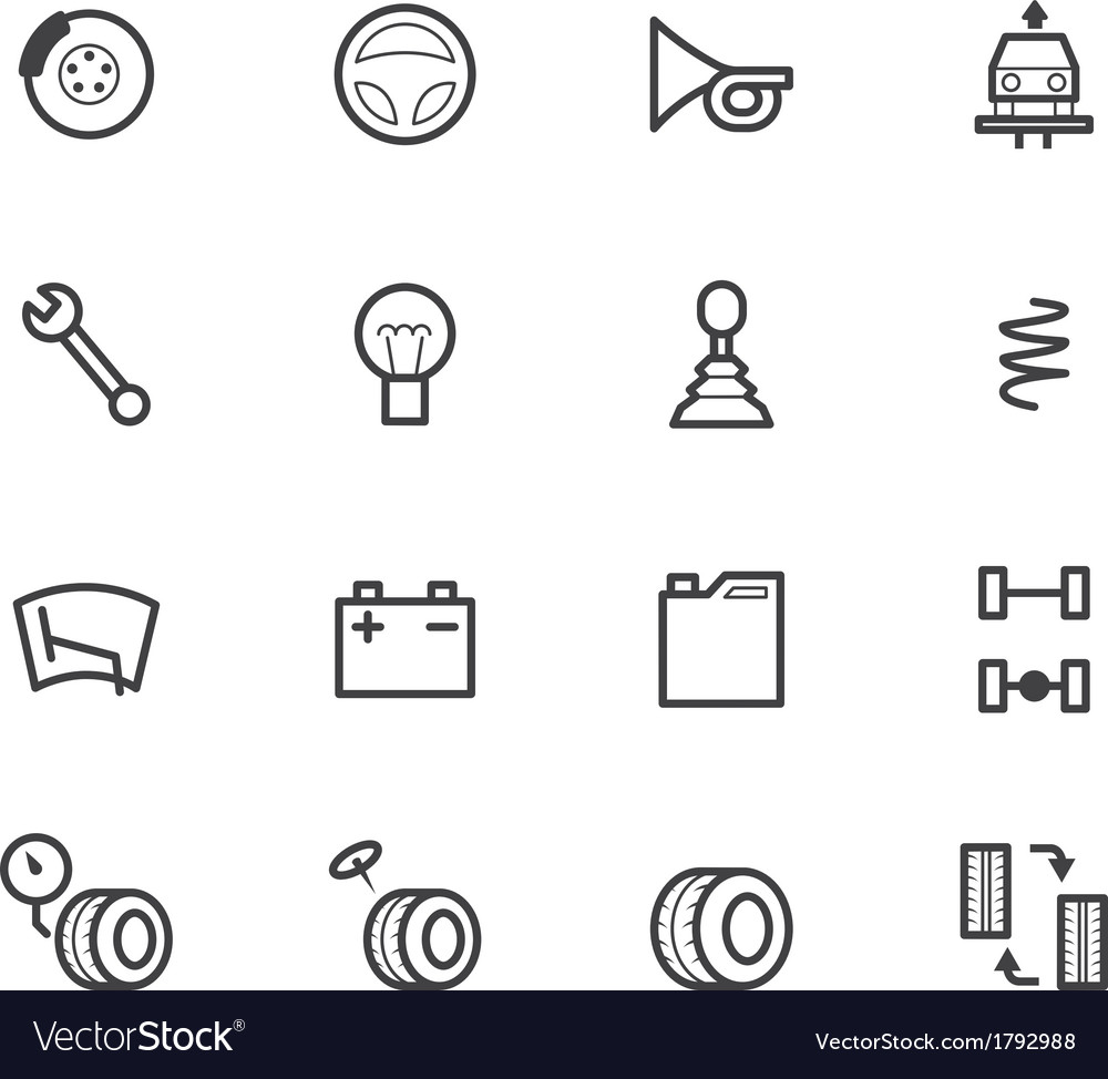 Car check black icon set on white background vector | Price: 1 Credit (USD $1)