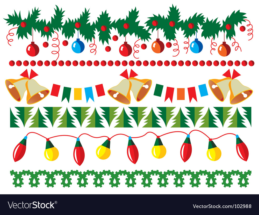 Christmas border elements vector | Price: 1 Credit (USD $1)