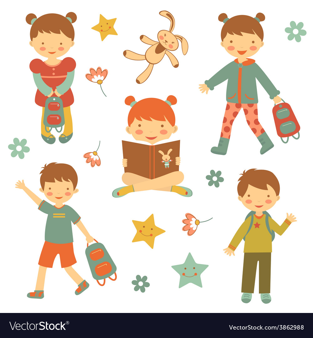 Collection of different kids vector | Price: 1 Credit (USD $1)
