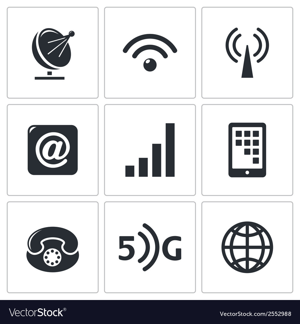 Communication and connection icons set vector | Price: 1 Credit (USD $1)