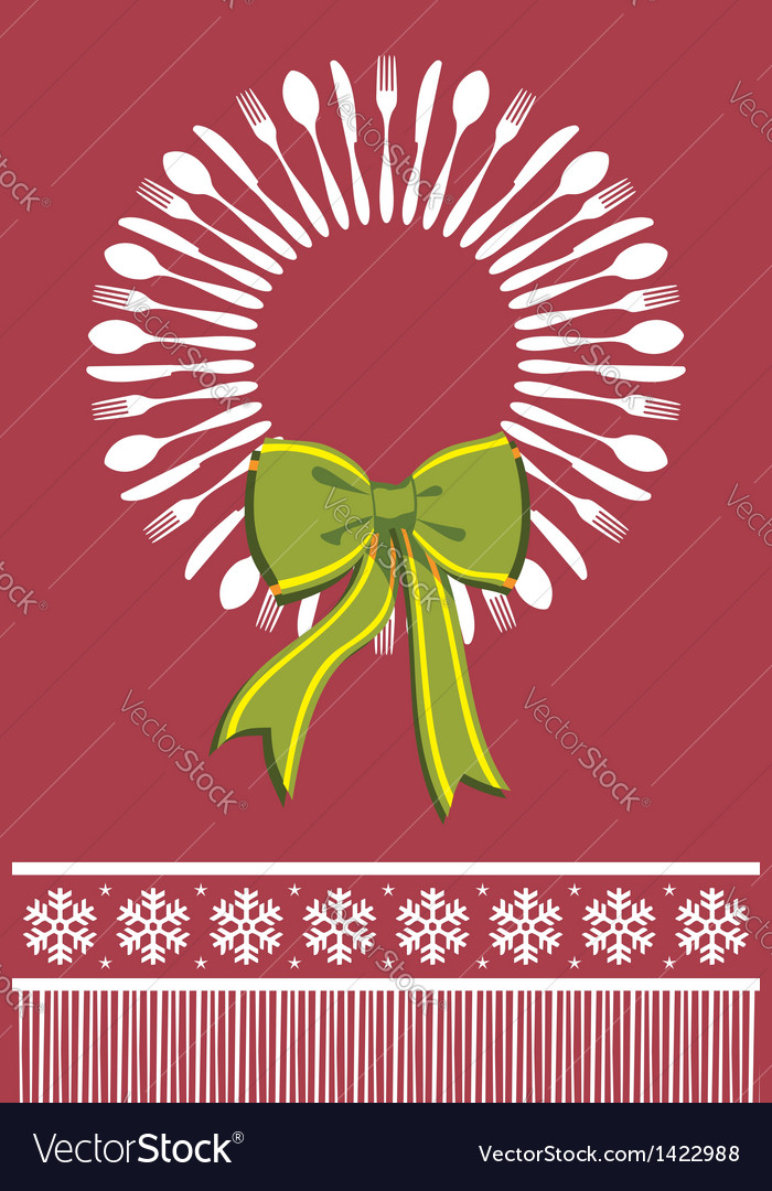 Cutlery wreath christmas background vector | Price: 1 Credit (USD $1)
