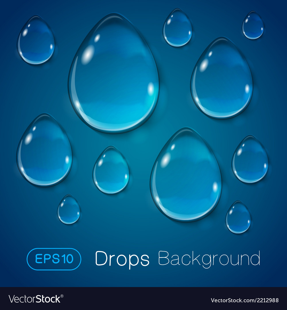 Drops of liquid on blue background vector | Price: 1 Credit (USD $1)