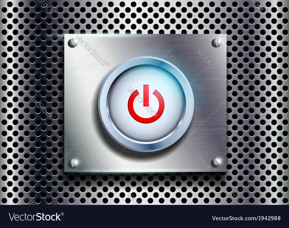 Power button on a metal background vector | Price: 1 Credit (USD $1)