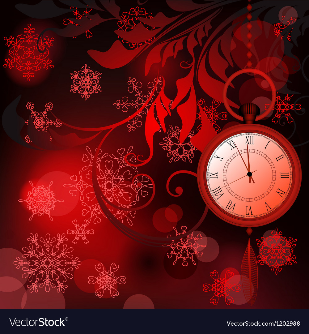 Red new year background with watches and vector | Price: 1 Credit (USD $1)