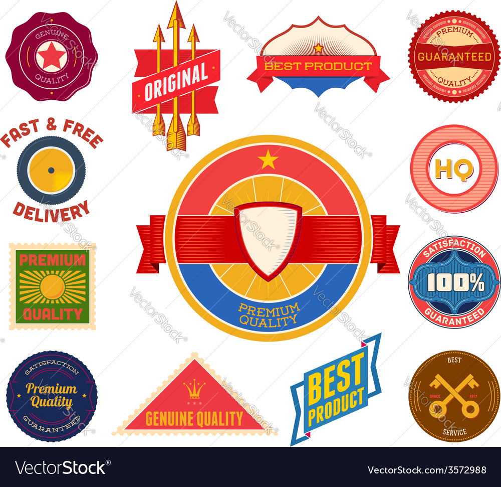Set of flat colored vintage labels collection 8 vector | Price: 1 Credit (USD $1)