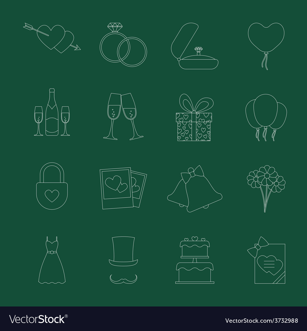 Set of wedding icons vector | Price: 1 Credit (USD $1)