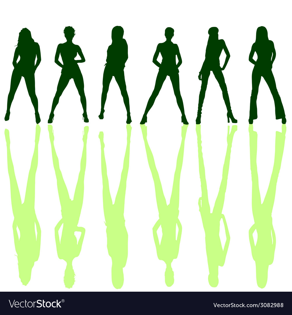 Six girl posing silhouette vector | Price: 1 Credit (USD $1)