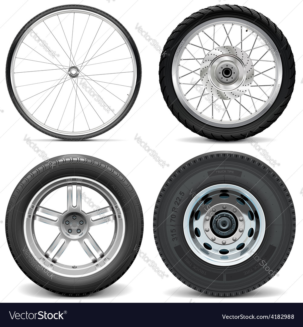Tires for bicycle motorcycle car and truck vector | Price: 3 Credit (USD $3)