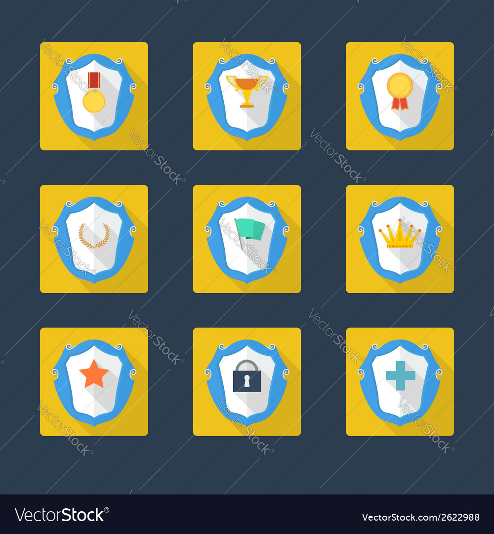 Trophy and awards icons in flat design style vector | Price: 1 Credit (USD $1)