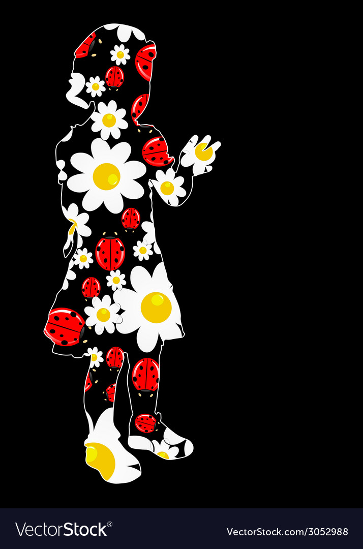 Young girl with daisy and ladybug vector | Price: 1 Credit (USD $1)