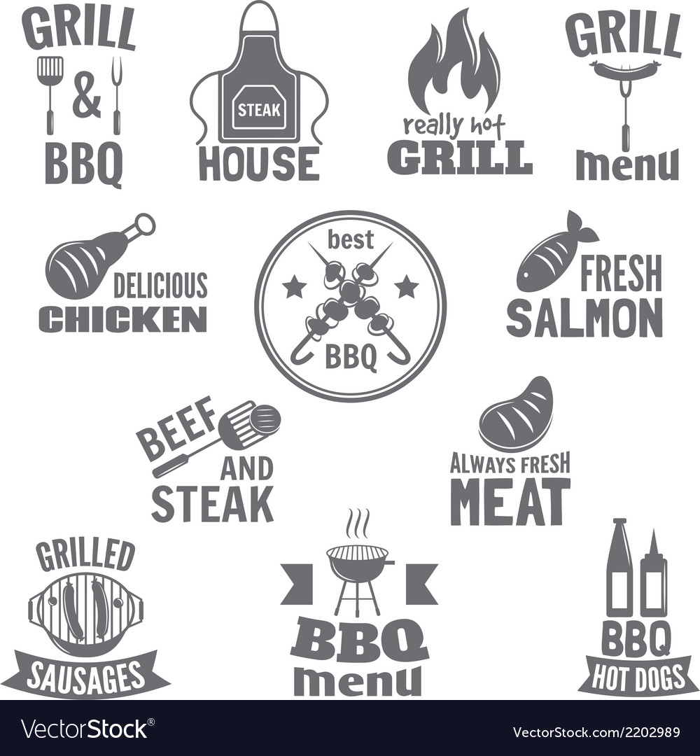 Bbq grill label vector | Price: 1 Credit (USD $1)