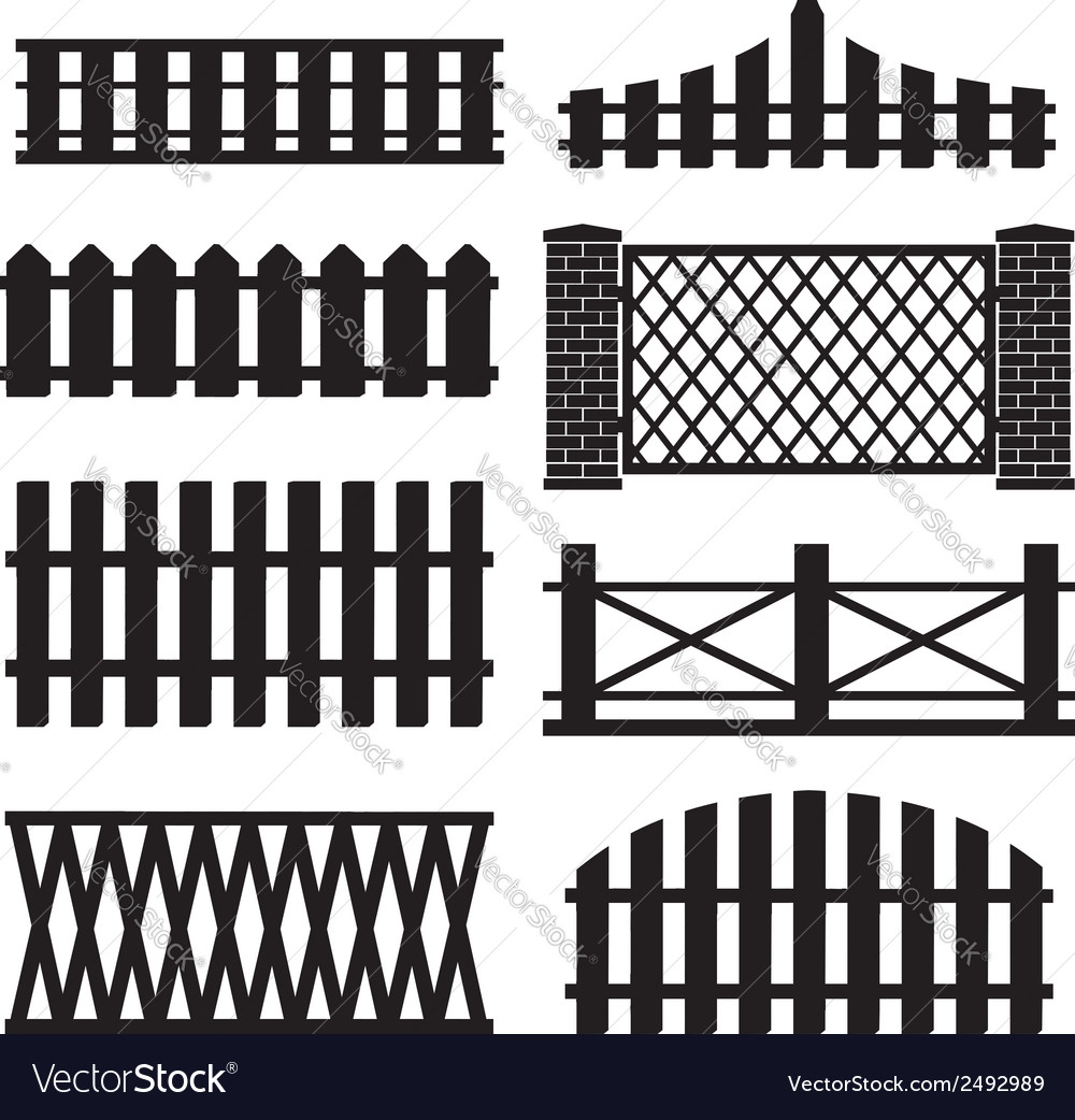 Big set of wooden fence silhouette vector | Price: 1 Credit (USD $1)