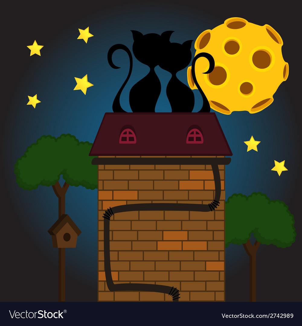 Black cat under moon vector | Price: 1 Credit (USD $1)