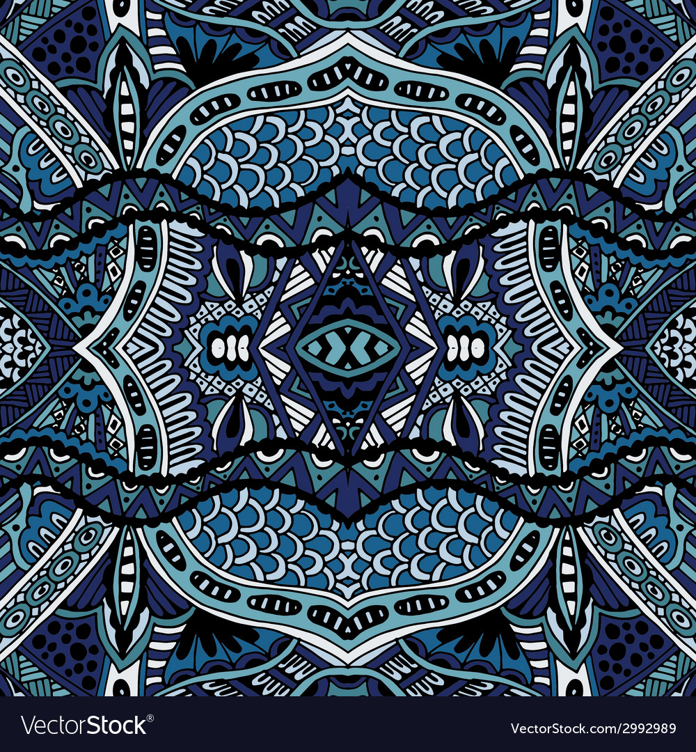 Blue oriental ethnic seamless pattern design vector | Price: 1 Credit (USD $1)