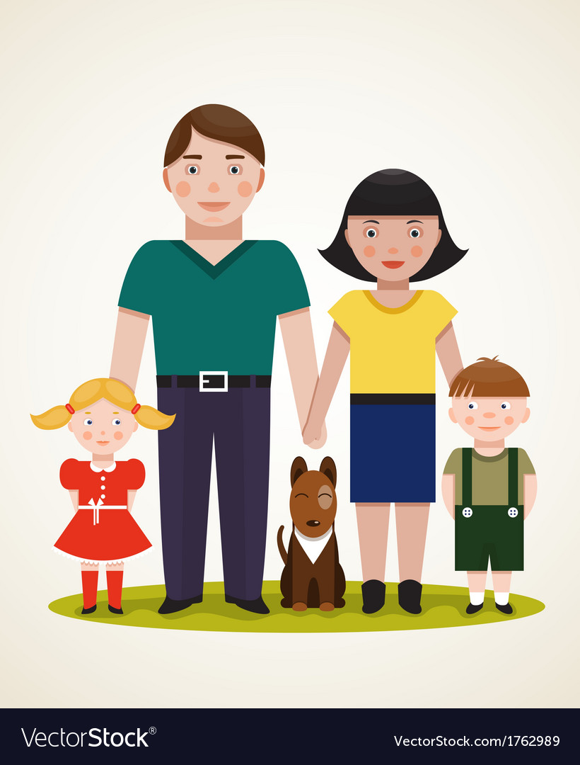 Happy family parents with two children and dog vector   Price: 1 Credit (USD $1)