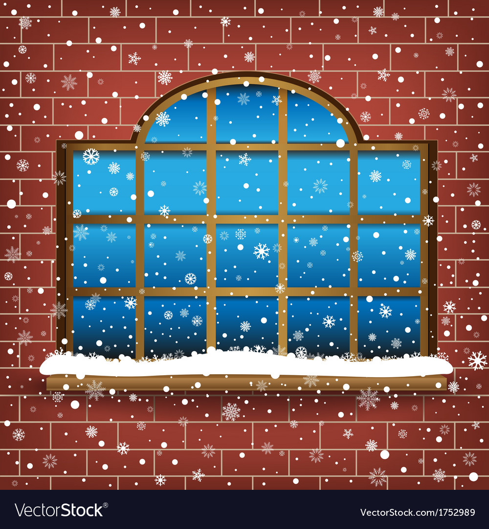 Large window and snow vector | Price: 1 Credit (USD $1)