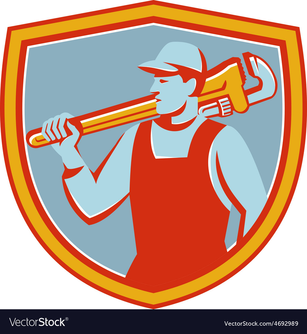 Plumber monkey wrench shoulder shield retro vector | Price: 1 Credit (USD $1)