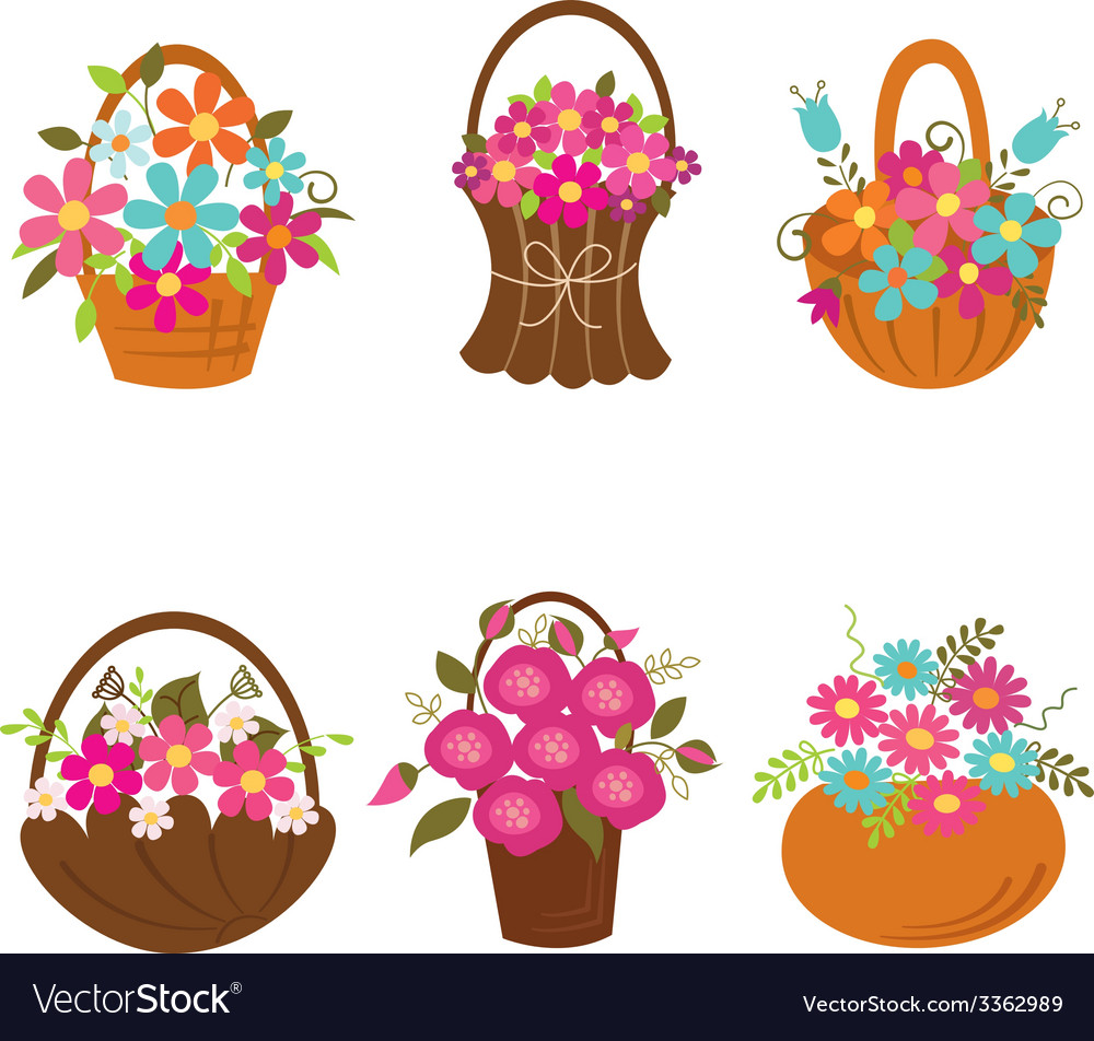 Set of basket of flowers vector | Price: 1 Credit (USD $1)