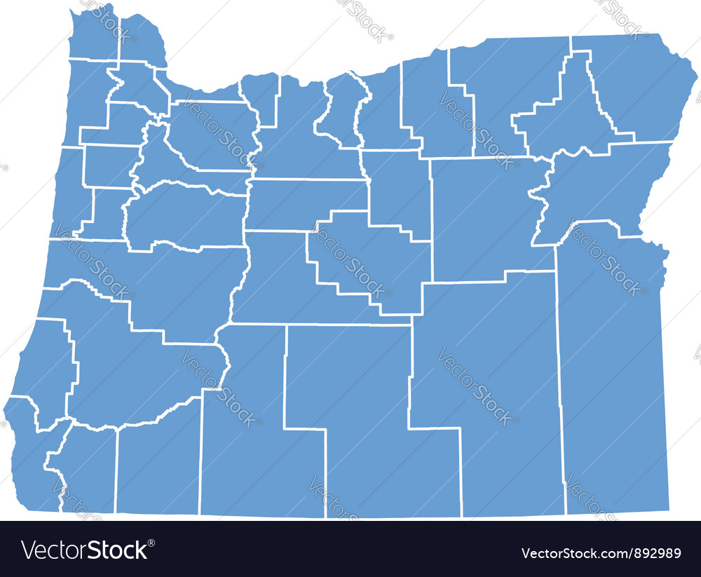 State map of oregon by counties vector | Price: 1 Credit (USD $1)