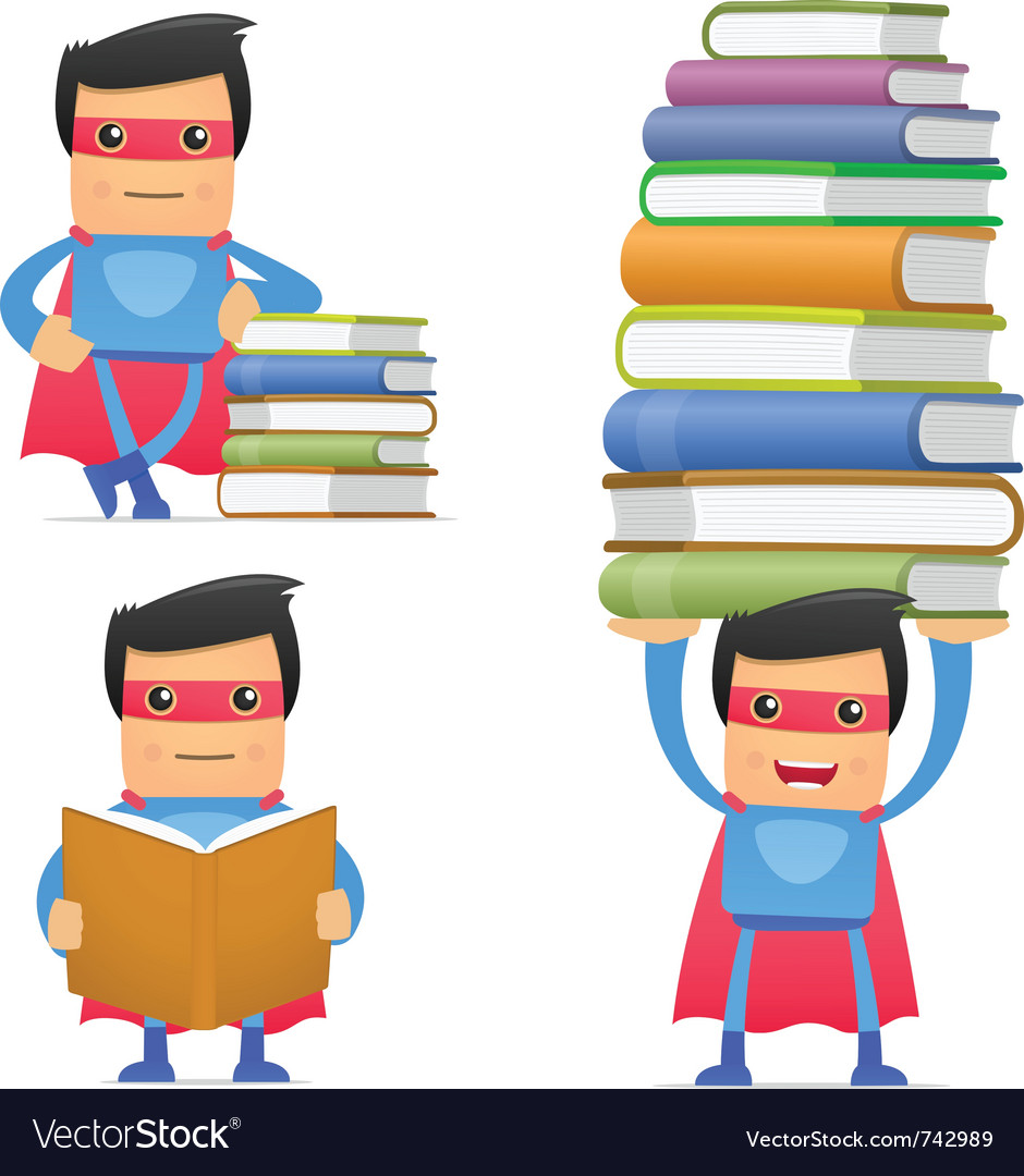 Superhero with books vector | Price: 1 Credit (USD $1)