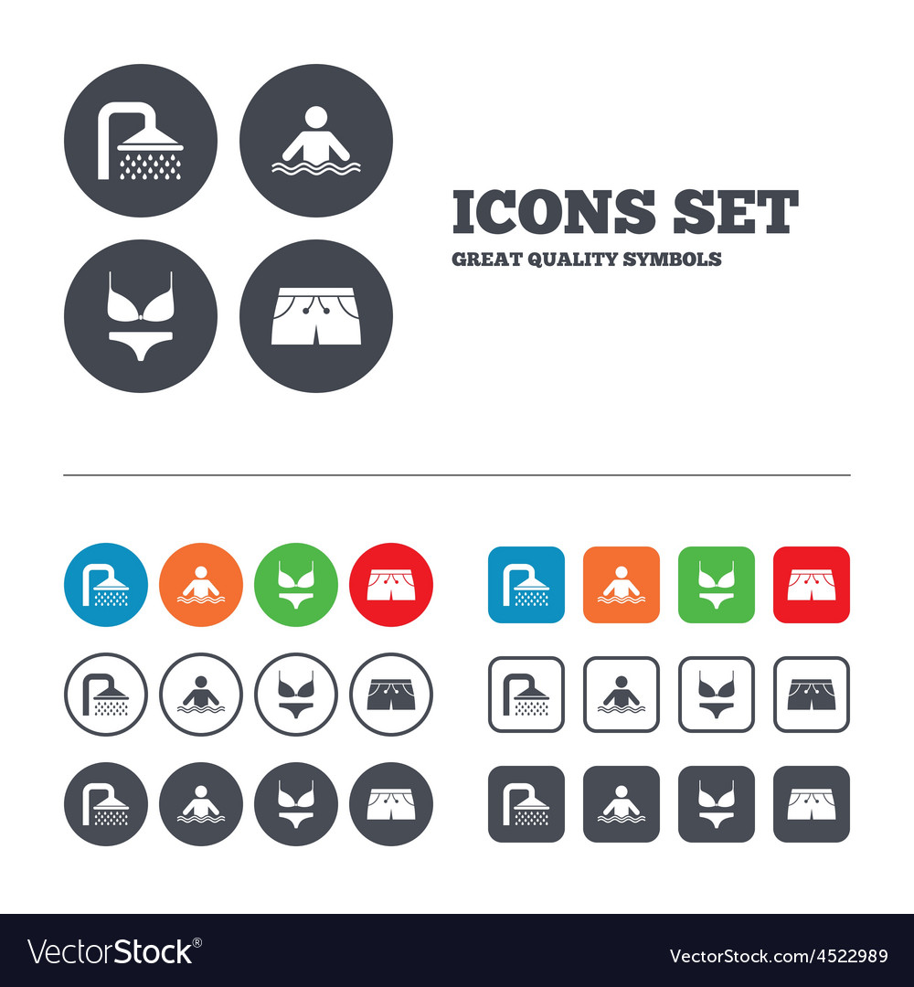 Swimming pool icons shower and swimwear signs vector | Price: 1 Credit (USD $1)