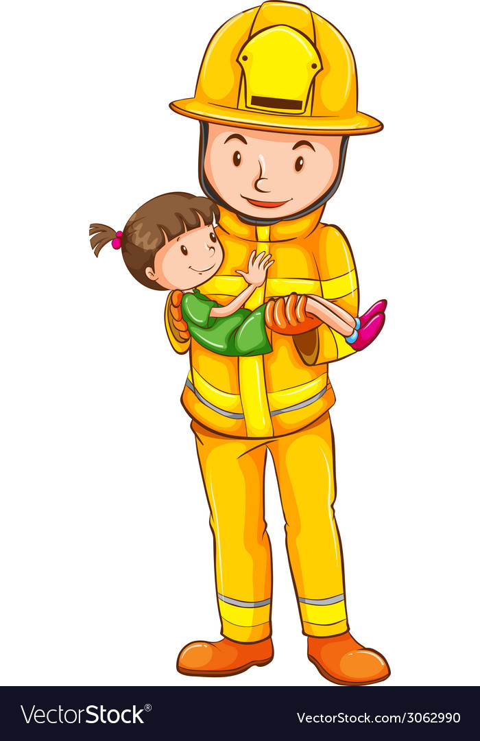 A coloured sketch of a fireman saving a child vector | Price: 1 Credit (USD $1)