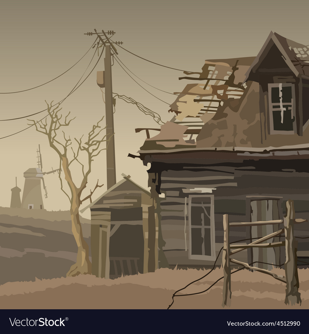 Abandoned village with a ruined house and mills vector | Price: 3 Credit (USD $3)