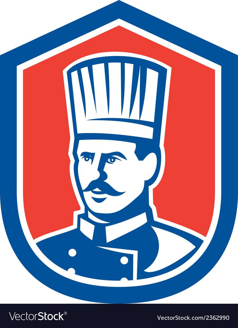 Chef cook baker shield retro vector | Price: 1 Credit (USD $1)