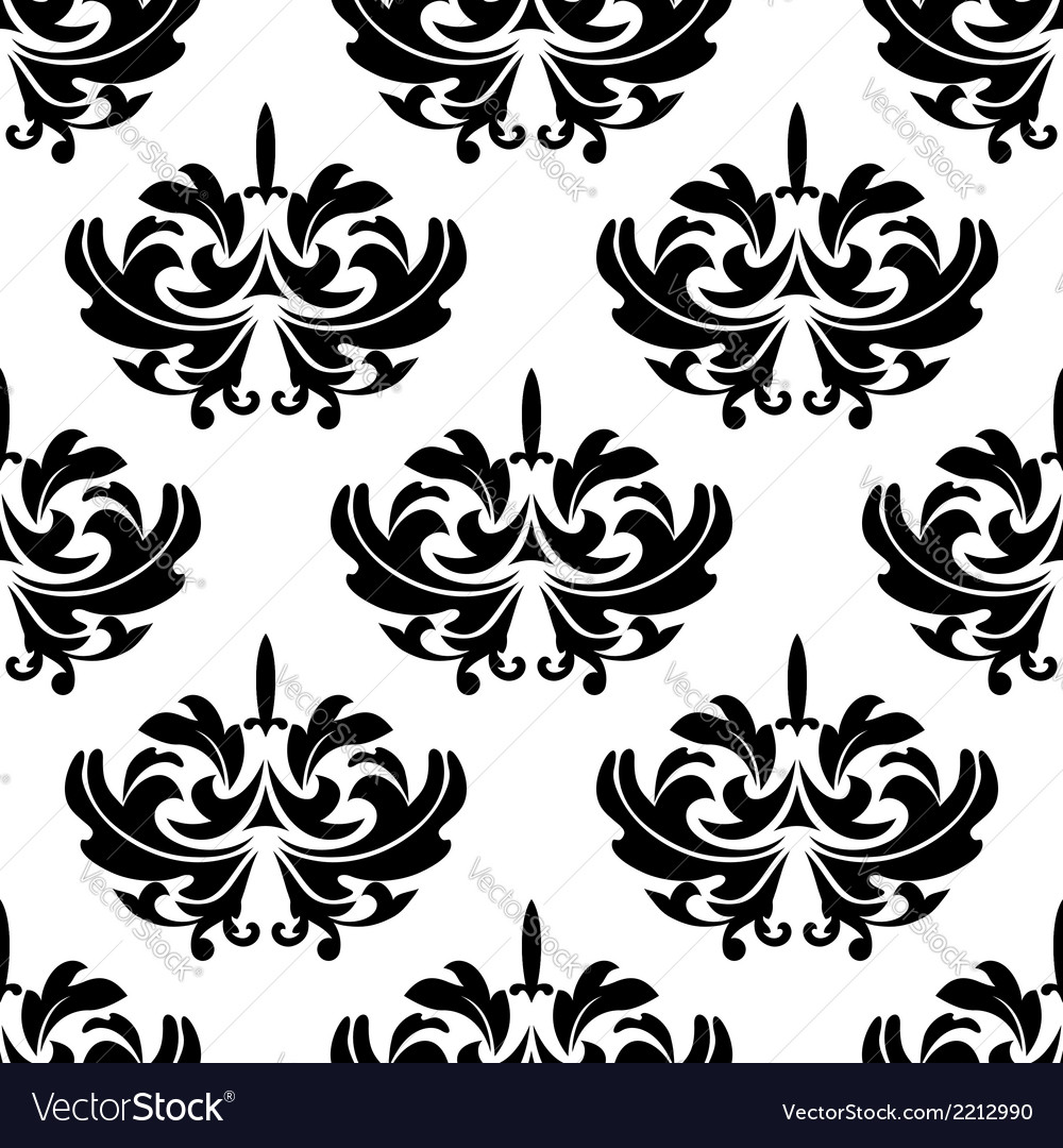 Damask style arabesque pattern with a floral motif vector | Price: 1 Credit (USD $1)