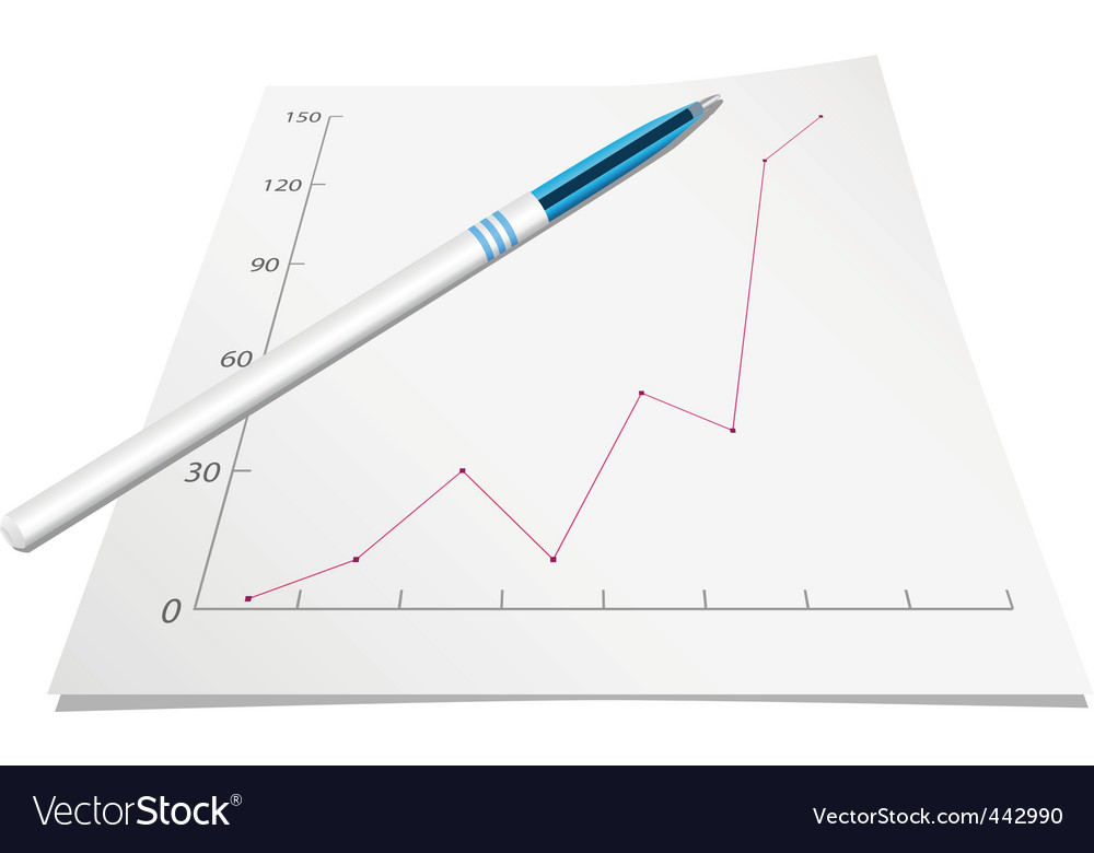 Graph with pen vector | Price: 1 Credit (USD $1)