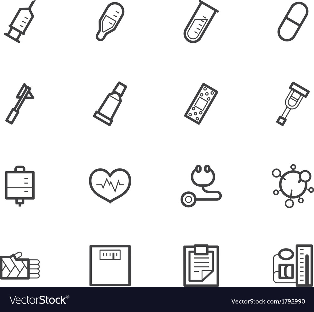 Hospital black icon set on white background vector | Price: 1 Credit (USD $1)