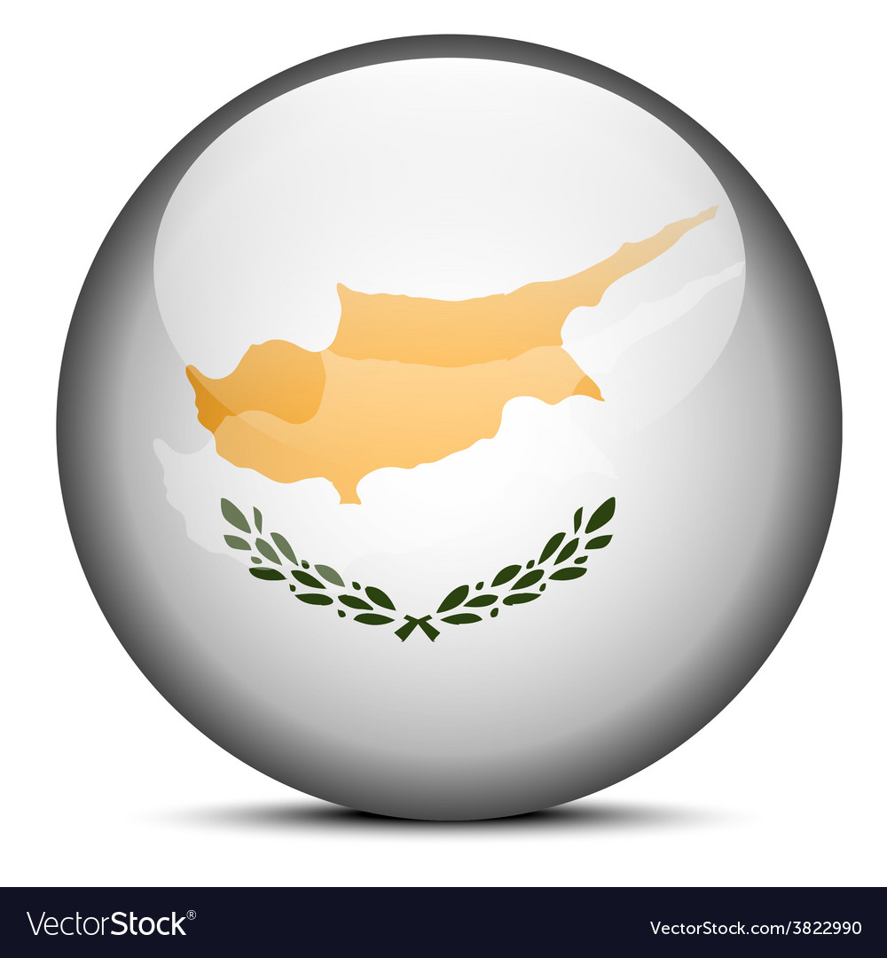 Map on flag button of republic of cyprus vector | Price: 1 Credit (USD $1)