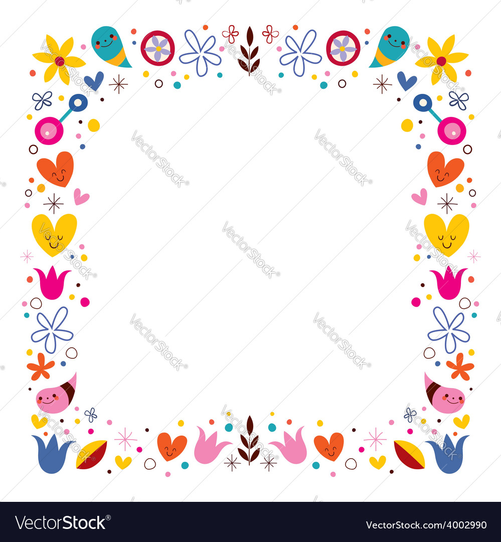 Nature love harmony flowers abstract art frame vector | Price: 1 Credit (USD $1)