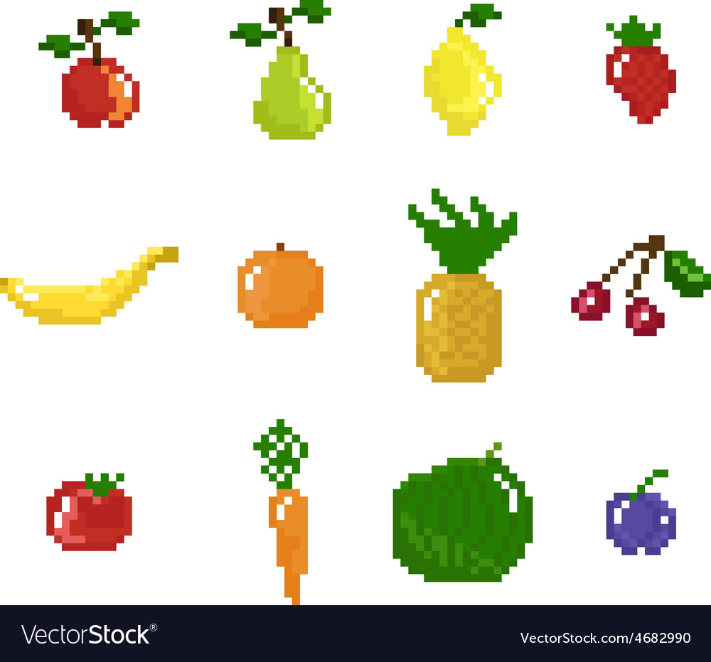Pixel art style fruits vegetables and berries vector | Price: 1 Credit (USD $1)