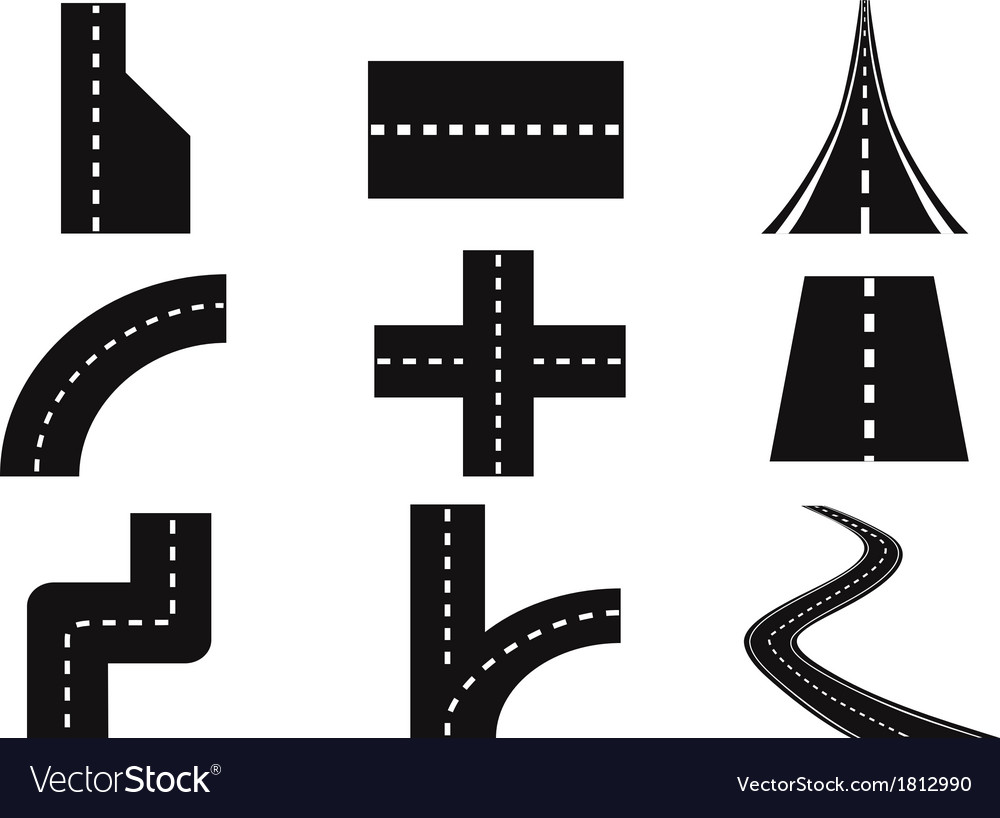 Roads set vector | Price: 1 Credit (USD $1)