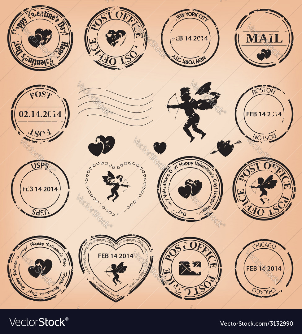 Romantic grungy post stamps for valentine day vector | Price: 1 Credit (USD $1)