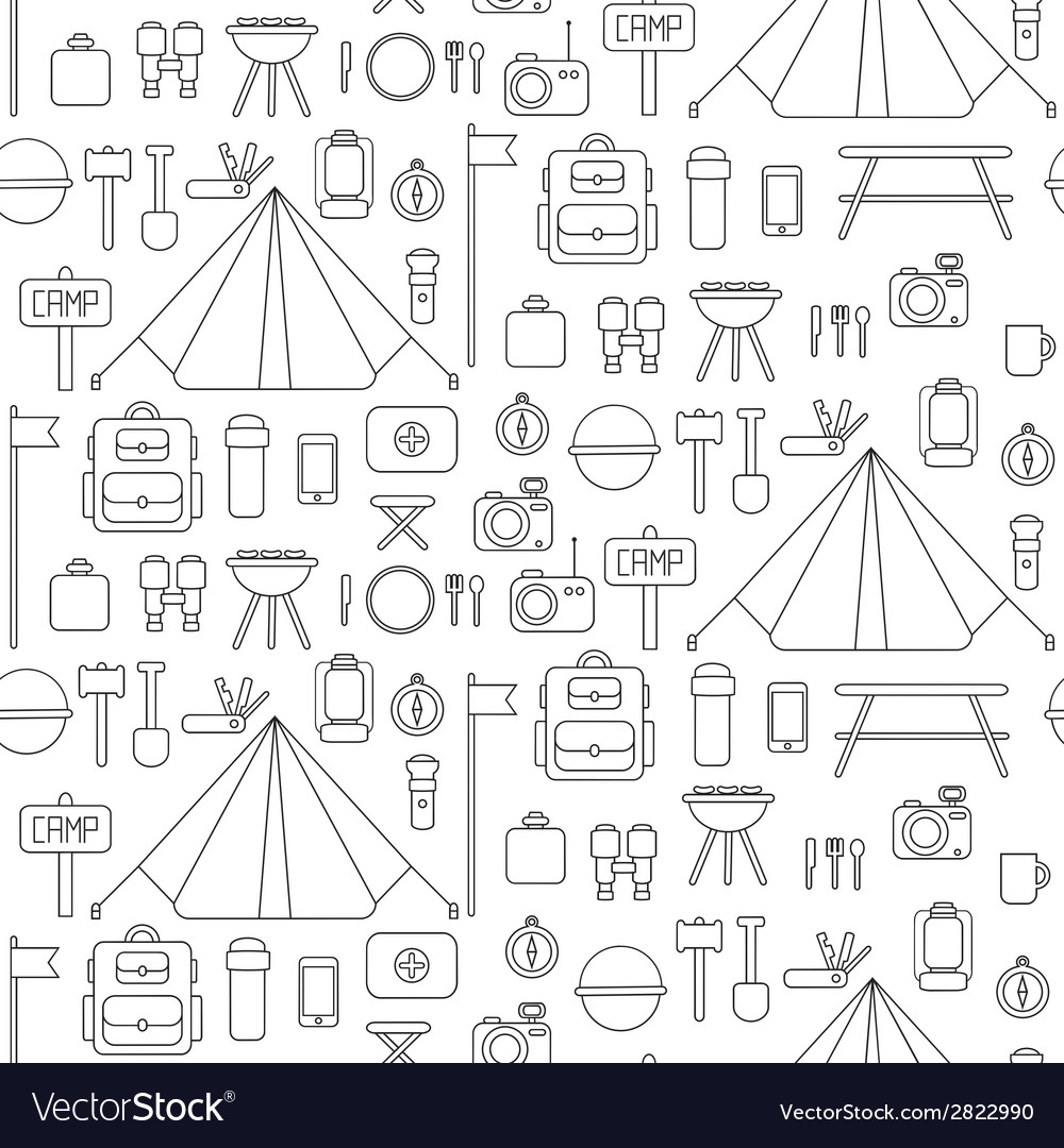 Seamless pattern of flat colorful camping vector | Price: 1 Credit (USD $1)